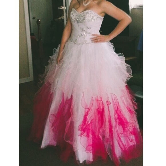 Dresses White And Pink Ombr Prom Dress Poshmark